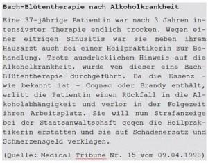 Bach-Blütentherapie - Strafanzeige gegen Heilpraktiker