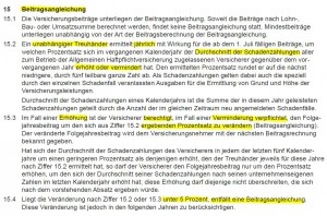 Beitragsangleichung nach Ziffer 15 AHB (Stand: 01.10.2014)